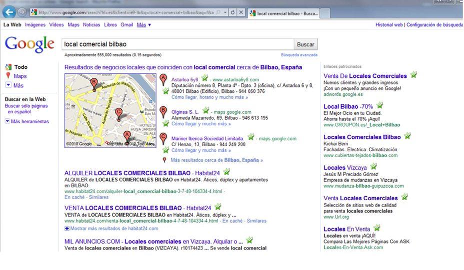 pantallazo seo en 1 mes desde la creación de la web